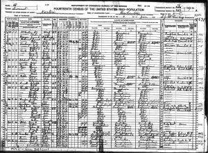 Silas J. McCartney and Family 1920 Census